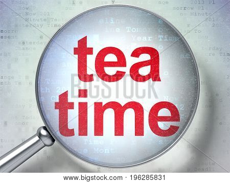 Timeline concept: magnifying optical glass with words Tea Time on digital background, 3D rendering