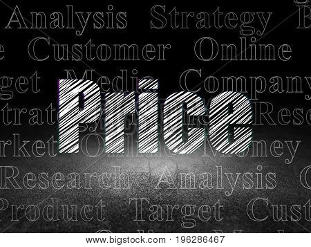 Marketing concept: Glowing text Price in grunge dark room with Dirty Floor, black background with  Tag Cloud
