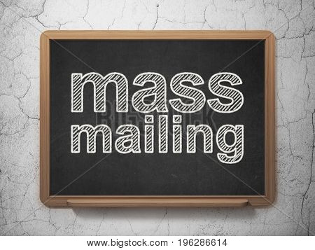 Marketing concept: text Mass Mailing on Black chalkboard on grunge wall background, 3D rendering