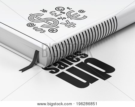 Advertising concept: closed book with Black Finance Symbol icon and text Sales Up on floor, white background, 3D rendering