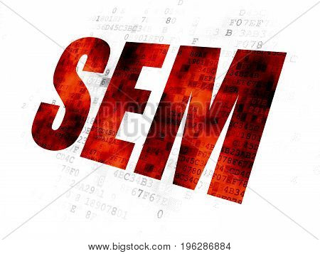 Marketing concept: Pixelated red text SEM on Digital background
