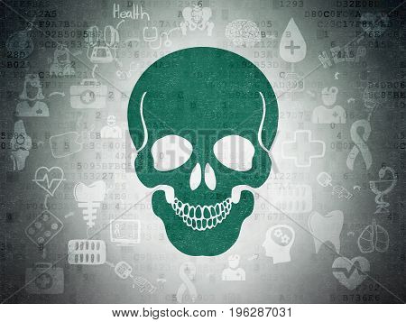 Health concept: Painted green Scull icon on Digital Data Paper background with Scheme Of Hand Drawn Medicine Icons
