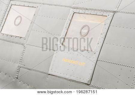 emergency exit hatch on a vintage war-bird aircraft