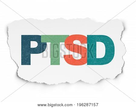 Health concept: Painted multicolor text PTSD on Torn Paper background