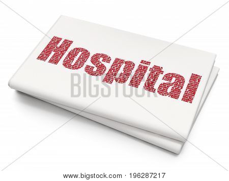 Healthcare concept: Pixelated red text Hospital on Blank Newspaper background, 3D rendering