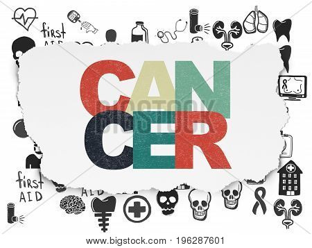 Healthcare concept: Painted multicolor text Cancer on Torn Paper background with  Hand Drawn Medicine Icons