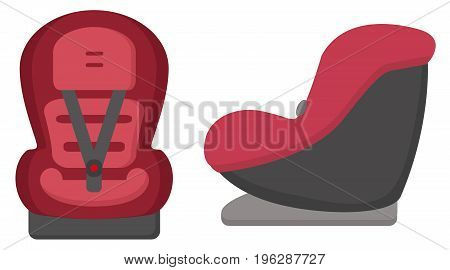 Black And Red Baby Car Seat. Front And Side Views Isolated On A White Background. Vector.