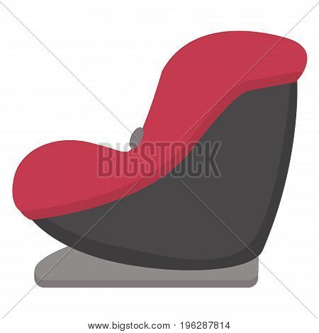 Black And Red Baby Car Seat, Side View Isolated On A White Background. Vector.