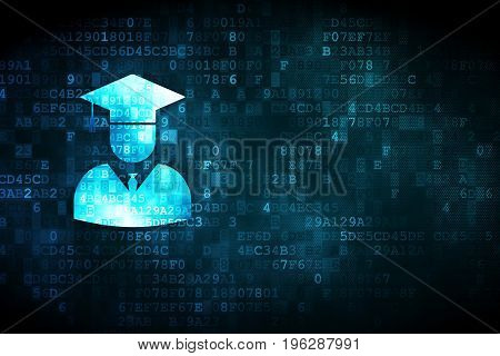 Science concept: pixelated Student icon on digital background, empty copyspace for card, text, advertising