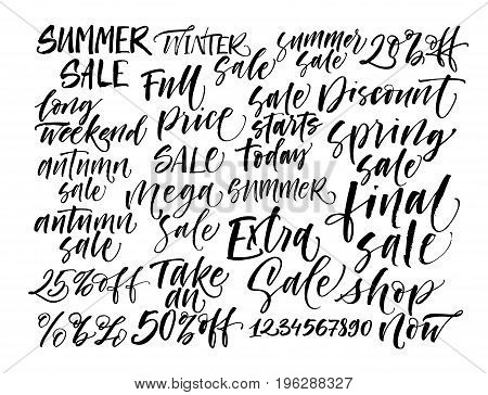 Set of sales phrase. Final sale extra sale take an 50% off autumn summer winter spring sale and others. Ink illustration. Modern brush calligraphy. Isolated on white background.