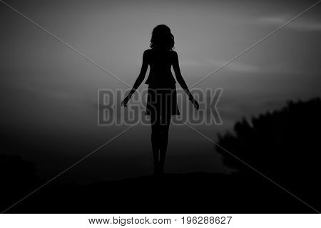 Silhouette woman portrait, concept of unknown anonymous unnamed etc.