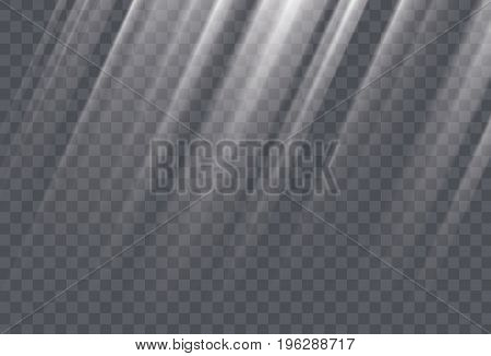 White sun rays and glow light effect on transparent background. Vector illustration.
