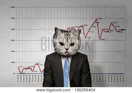 Cat in business suit. Mixed media