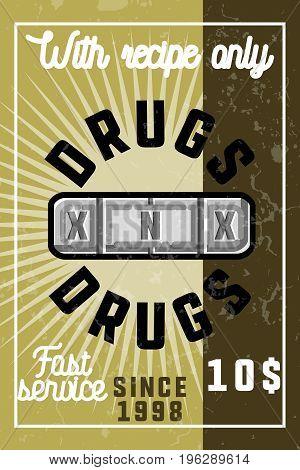 Color vintage drugs banner. Vector illustration, EPS 10