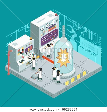 Isometric scientific laboratory experience experiment scientists work control panel analysis production development study technology business flat design concept illustration