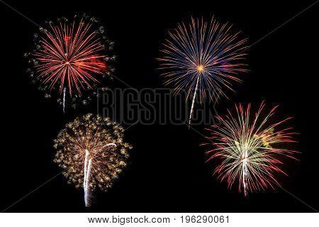 Fireworks Of Various Colors Isolated On Black Background