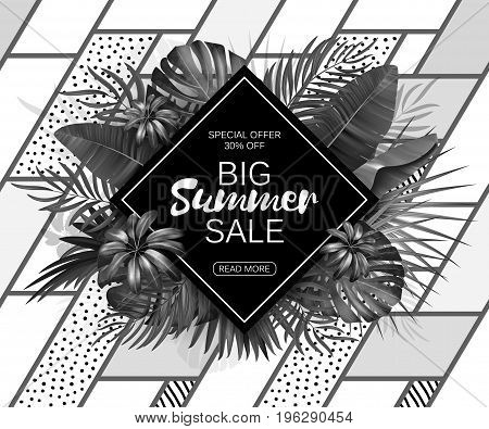 Summer sale background layout for banners, Wallpaper, flyers, invitation, posters, brochure, voucher discount. Vector illustration template. Black and white print.