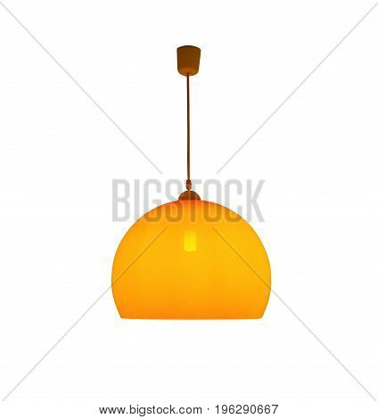 Hanging orange lamp isolated with clipping path