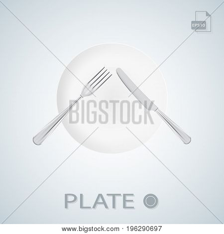 Plate With Fork And Knife Crossed Isolated On A Background. Vector.