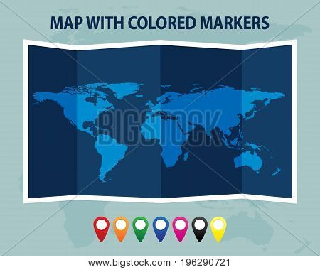 Folded world map with colored markers. Vector illustration.