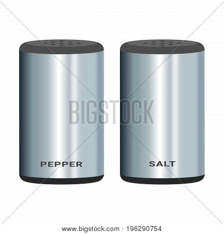 Salt Pepper Shakers Isolated On A White Background. Illustration.