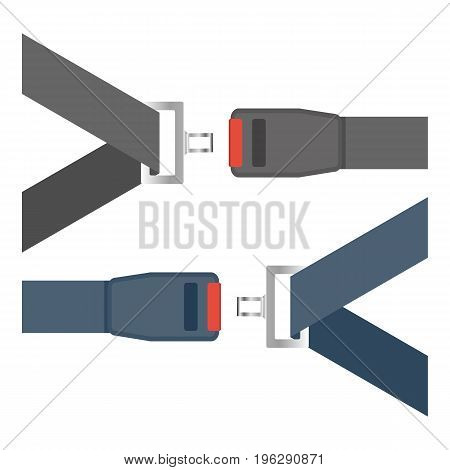 Car Seat Belts Ilustration Isolated On A White Background. Vector.