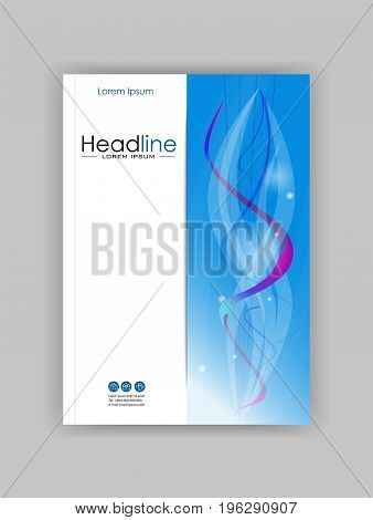 Book cover design A4 with blue abstract lines and circles. Good for publications journals portfolio monographs and magazines. Vector.