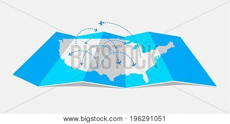 Folded map United States of America with airplanes. Vector illustration.