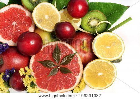 Fresh citrus. Bouquet of tropical fruits