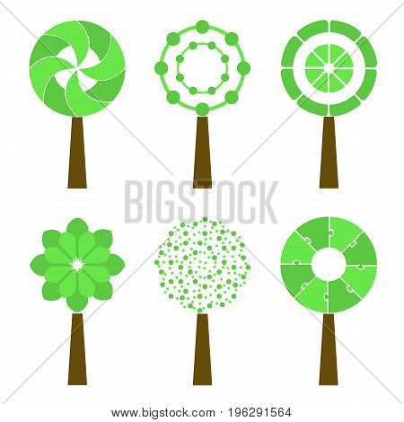 Abstract Trees Isolated On A White Background. Vector Set.
