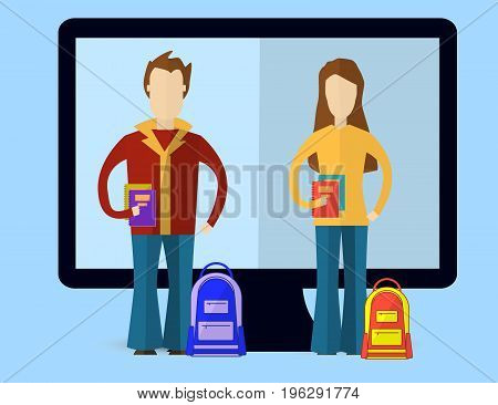 Flat vector illustration for e-learning and online education with Men and Women. Education infographic. Vector Illustration.
