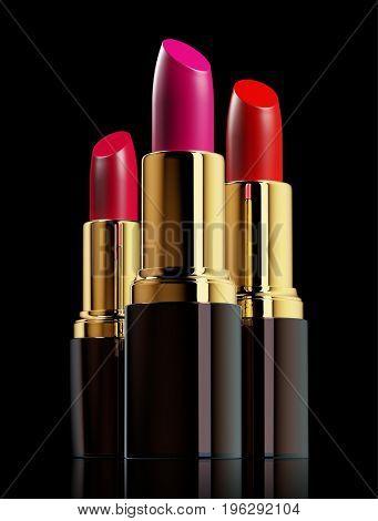Red lipsticks on black background. 3d rendering
