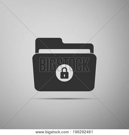 Locked folder icon isolated on grey background. Flat design. Vector Illustration