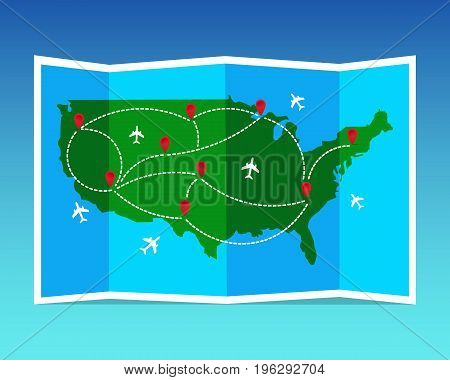 Travel and tourism map. United States of America folded world map with airplanes and markers. Vector illustration. Flat design.