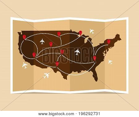 Travel and tourism map. United States of America vintage world map. Vector illustration, flat design.