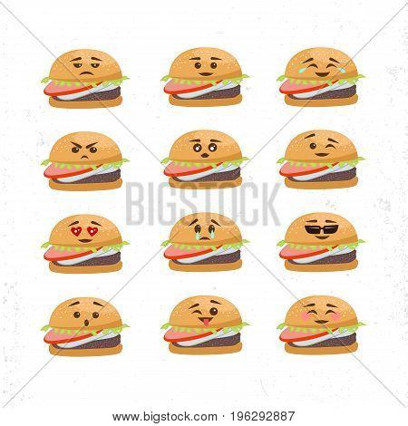 Vector Set Of Different Burger Faces. Smile emoji emoticon face in burger with a lot of variation. Vector emoji burger faces.