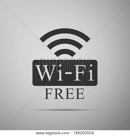 Free wifi sign icon isolated on grey background. Wifi symbol. Wireless Network icon. Wifi zone. Flat design. Vector Illustration