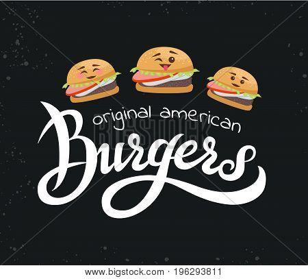 Hand lettering burger logo vector design. Vector handwritten illustration of original american burgers. Hand lettering burger logo design concept. Emblem for fast food restaurant, cafe.