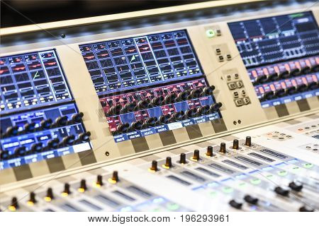 Colorful music console with lots of buttons