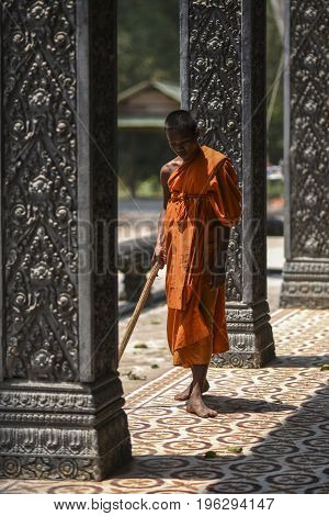 Siem Reap Cambodia March 18 2016: Monk during the ordinances at the Angkor Wat temple in Cambodia
