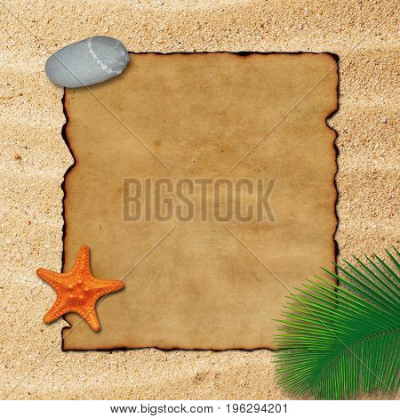 Old parchment paper with palm leaf, stone and starfish on beach sand background.