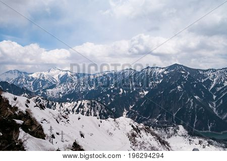 Beautiful panorama view of Japan Alps Tateyama Mountain Toyama Prefecture Japan.