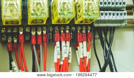 Colorful Wires of PLC Control Panel System