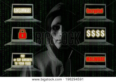 Ransomware Concept : Hacker with notebook computer showing sign relating ransomware and malware. Digital security technology concept.