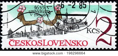 UKRAINE - CIRCA 2017: A stamp printed in Czechoslovakia shows 350th Anniversary of Trnava University from series Anniversary circa 1985