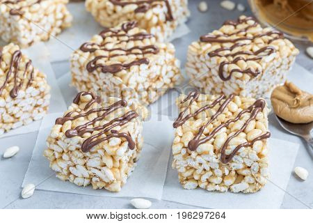 Homemade three ingredients bars with crispy rice honey and peanut butter horizontal