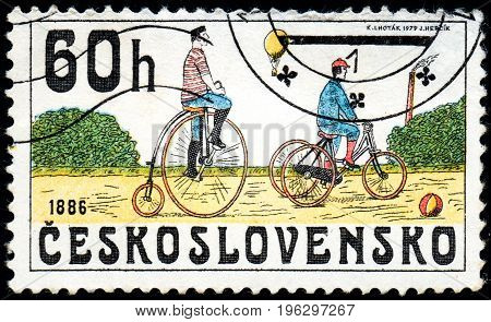 UKRAINE - CIRCA 2017: A stamp printed in Czechoslovakia shows Bicycles 1886 from series Historic bicycles circa 1979