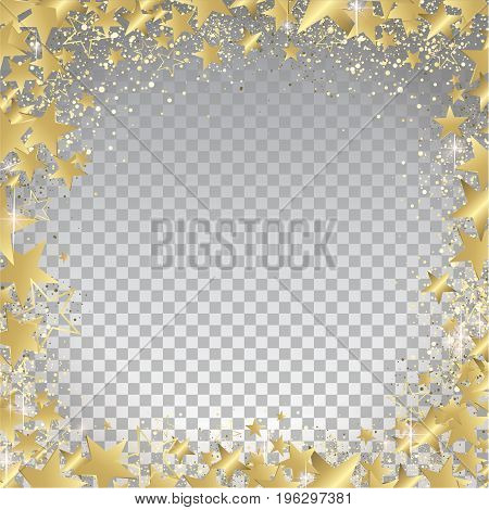 Transparent Gold Stars Background