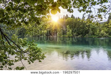 Plitvice Lakes in the evening. National Park Plitvice Lakes, Croatia.