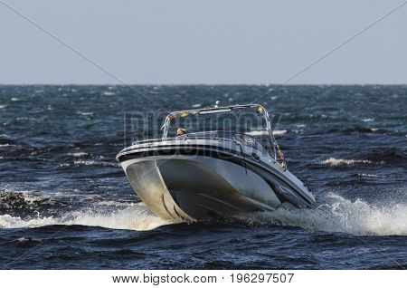 MOTORBOAT - Fast boat on a cruise on the sea